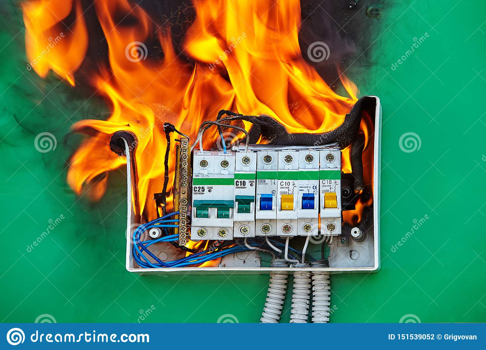 Loose Wires Caused Fire Inside Electrical Fuse Box Stock Photo - Image of  combustion, house: 151539052Dreamstime.com