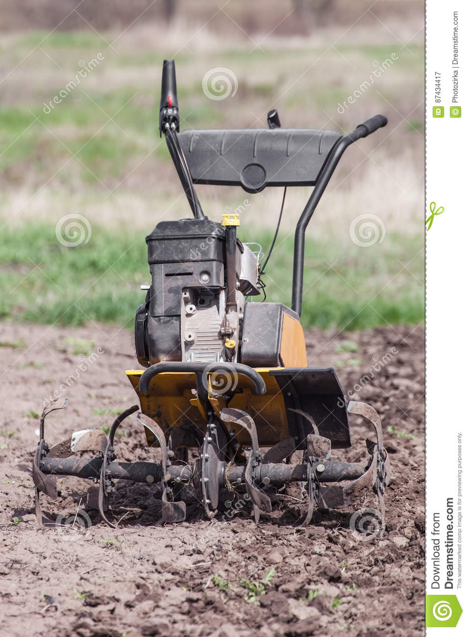 Loosens The Soil Cultivator Front View Stock Image - Image
