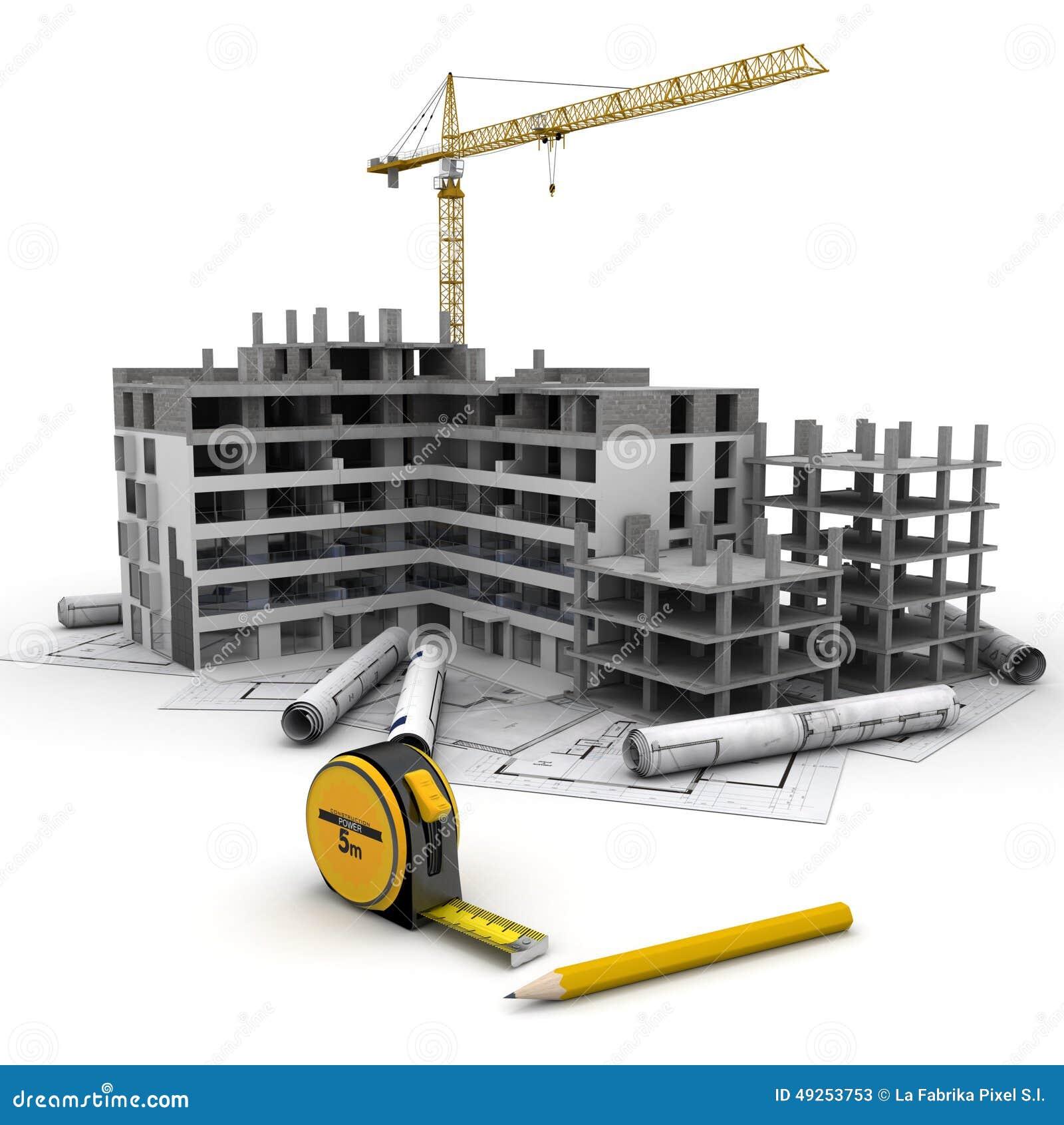 Building Construction Graphics : Lopend bouwproject stock afbeelding bestaande