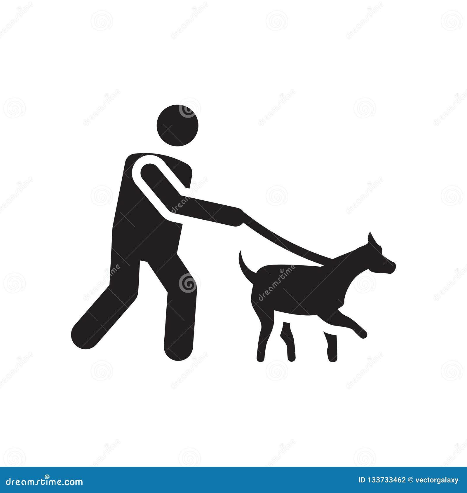 Lopend het vectordieteken en het symbool van het hondpictogram op witte achtergrond wordt geïsoleerd, die het het conceptenpictog