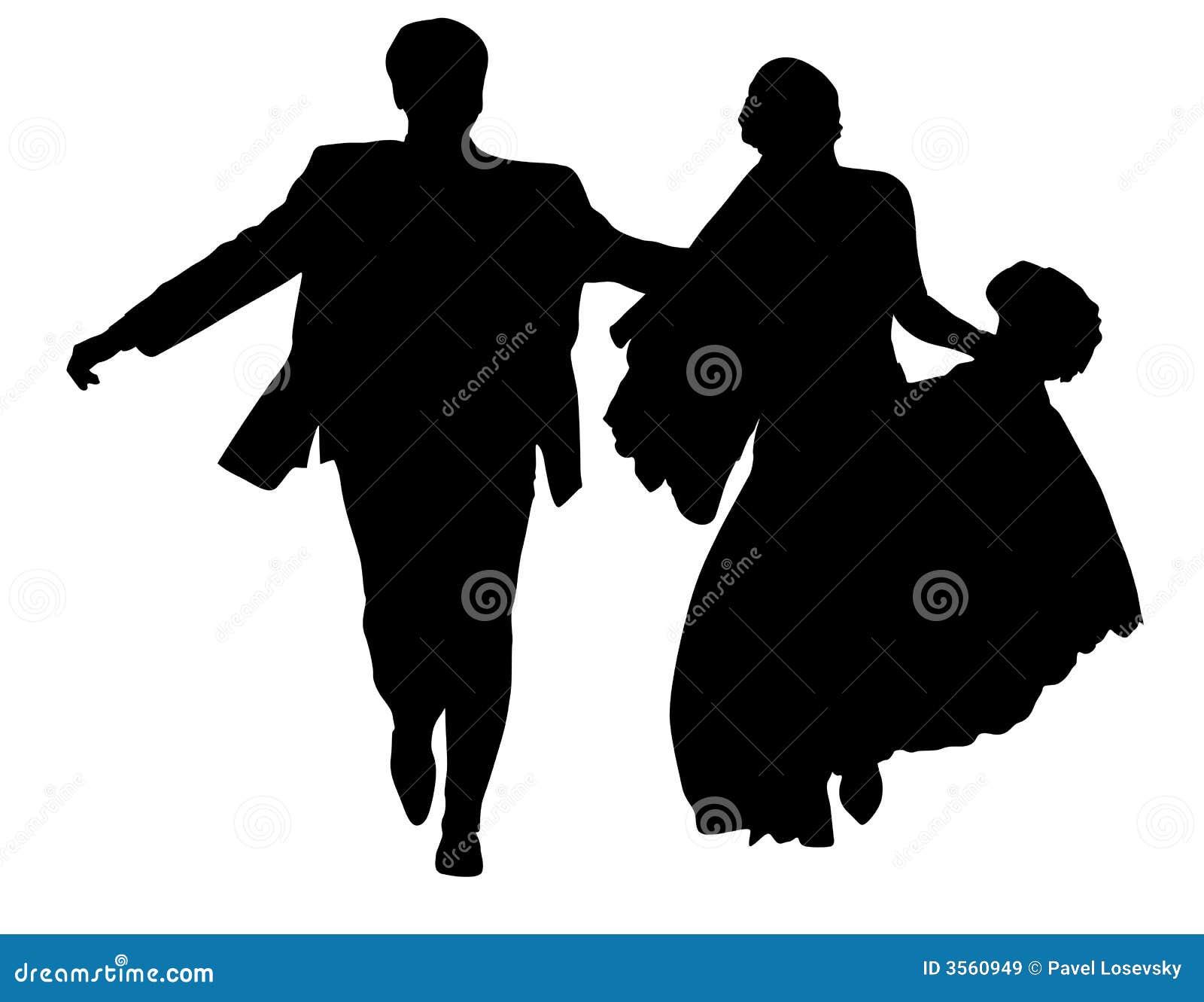 Lopend jonggehuwdesilhouet