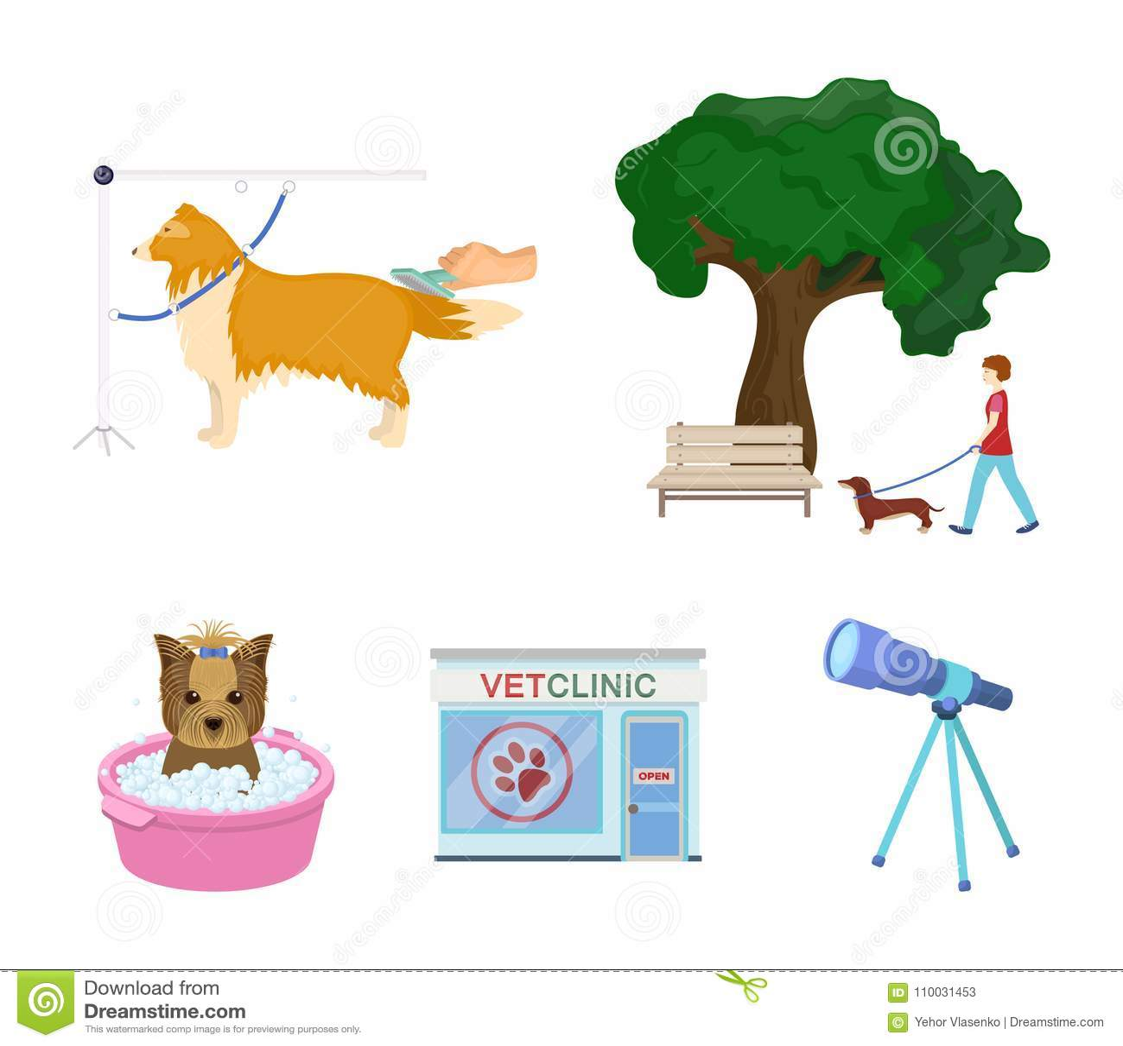 Lopend met een hond in het park, die een hond, een veterinair bureau van ` kammen s, die een huisdier baden Van het dierenartskli