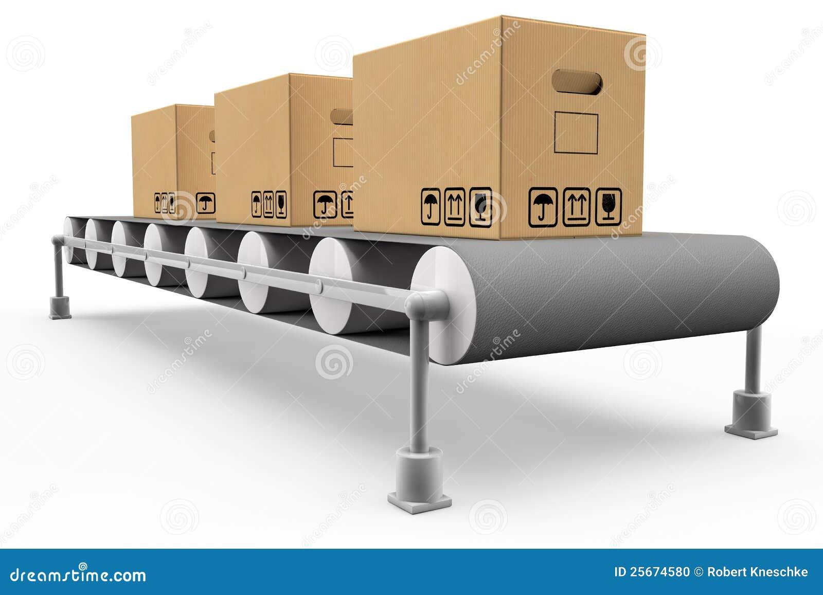 lopende band met dozen stock illustratie afbeelding