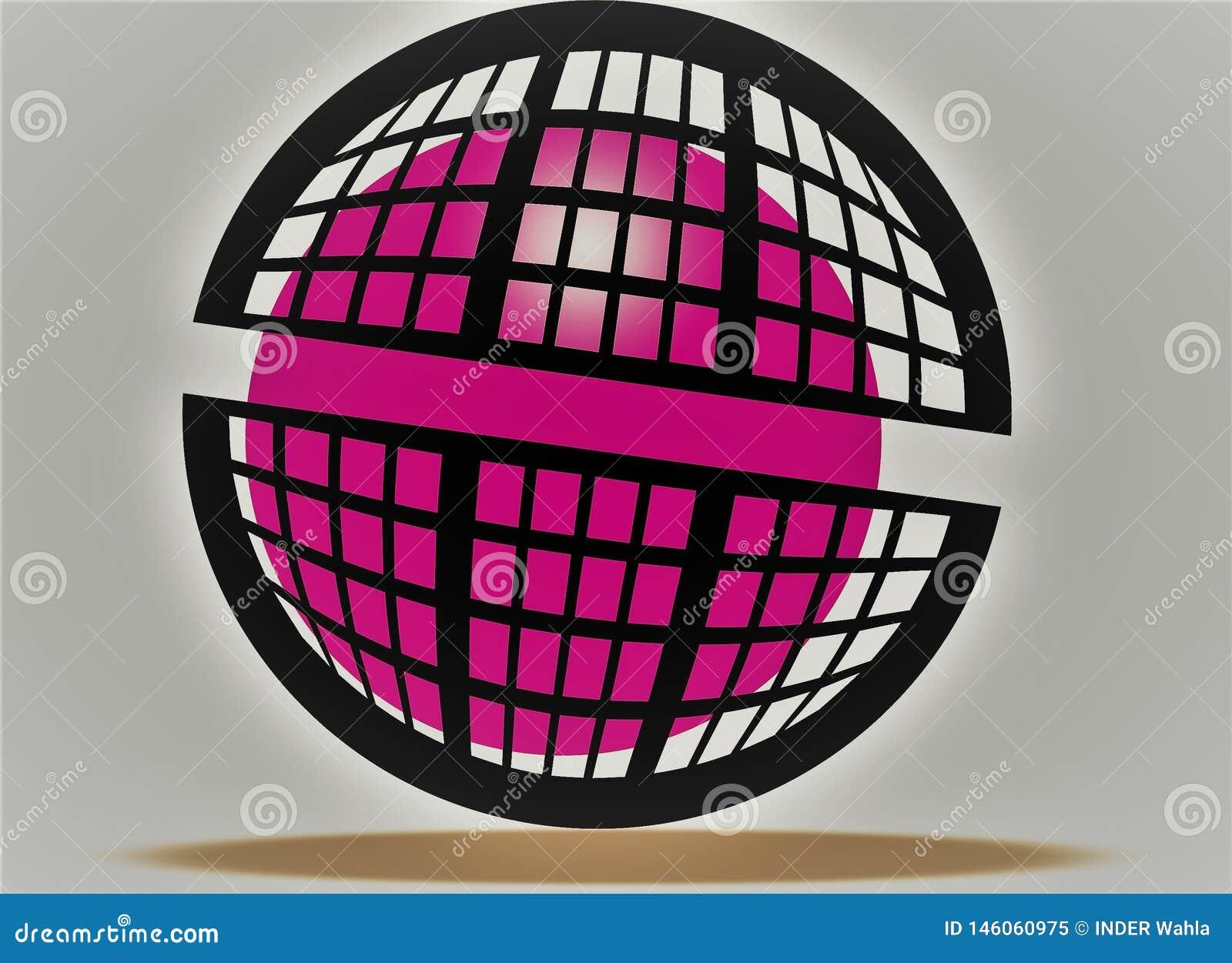 Lopende roze bal, roze zonneschijn in kooi, zoals roze brand, zwarte dozen om ontwerp ontzagwekkende 3d effect roze en zwarte