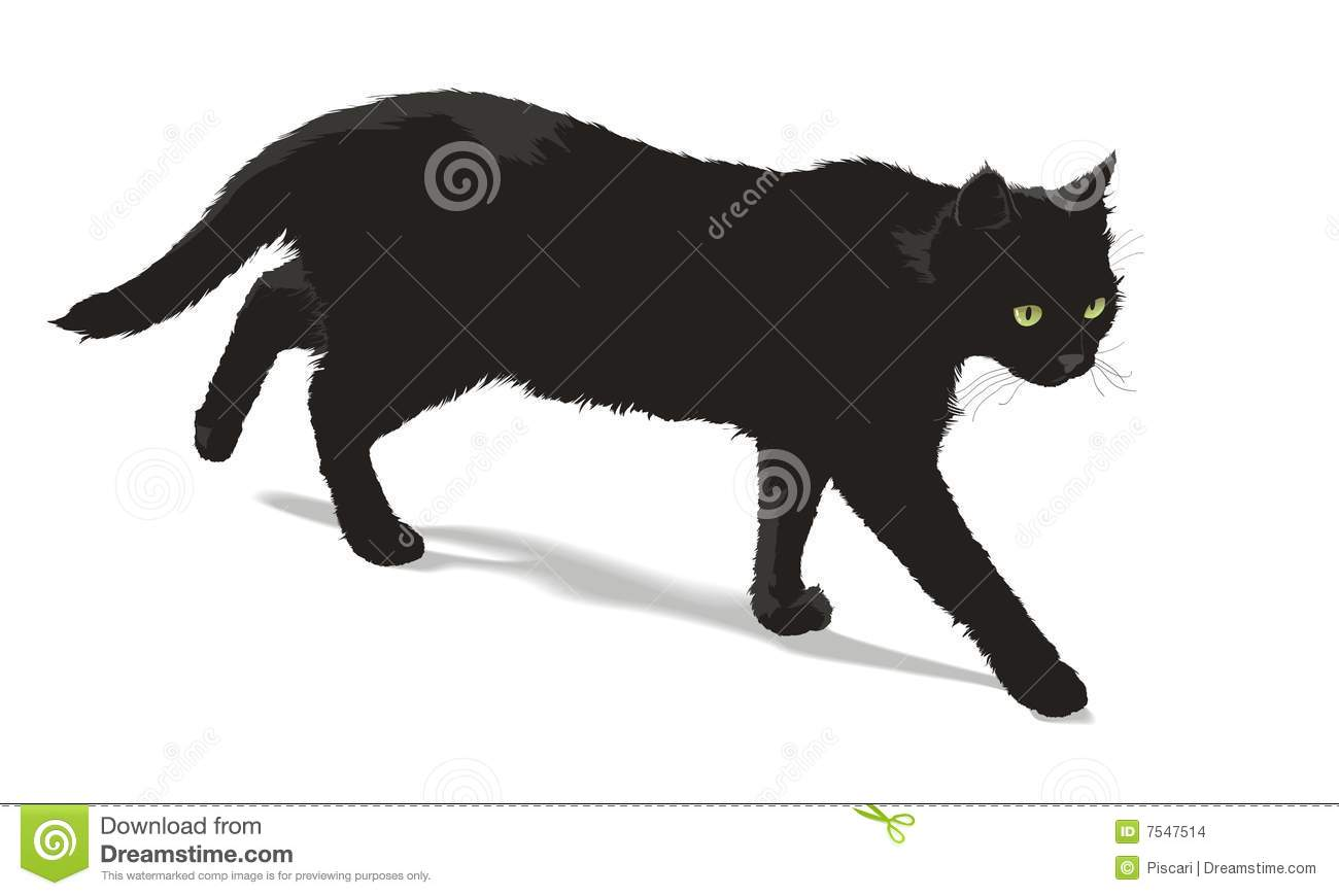 Cartoon Black Cat Sitting