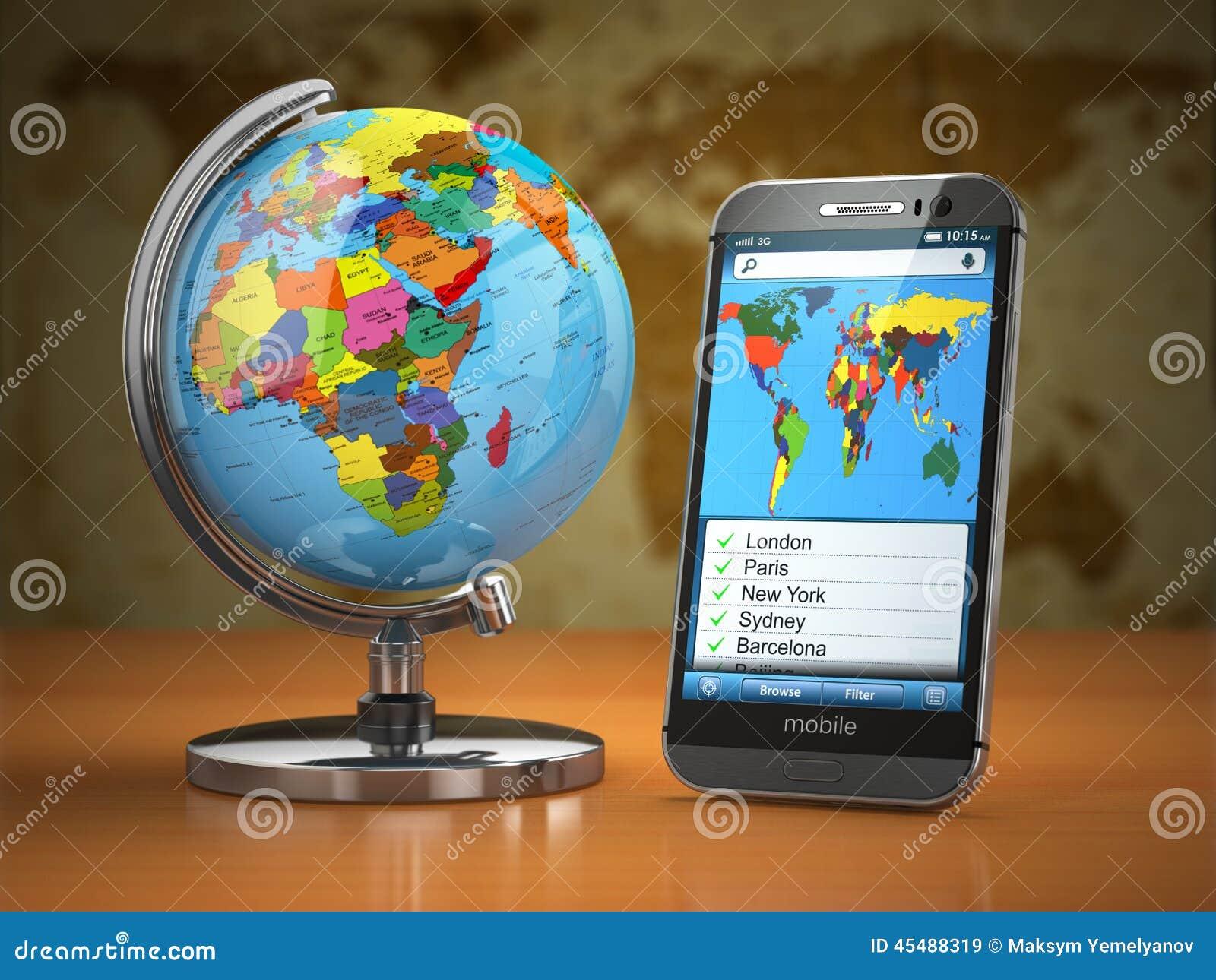 Lopp- och turismbegrepp Mobiltelefon och jordklot