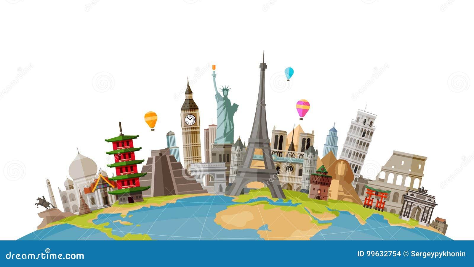 Lopp resabegrepp Berömda monument av världsländer också vektor för coreldrawillustration