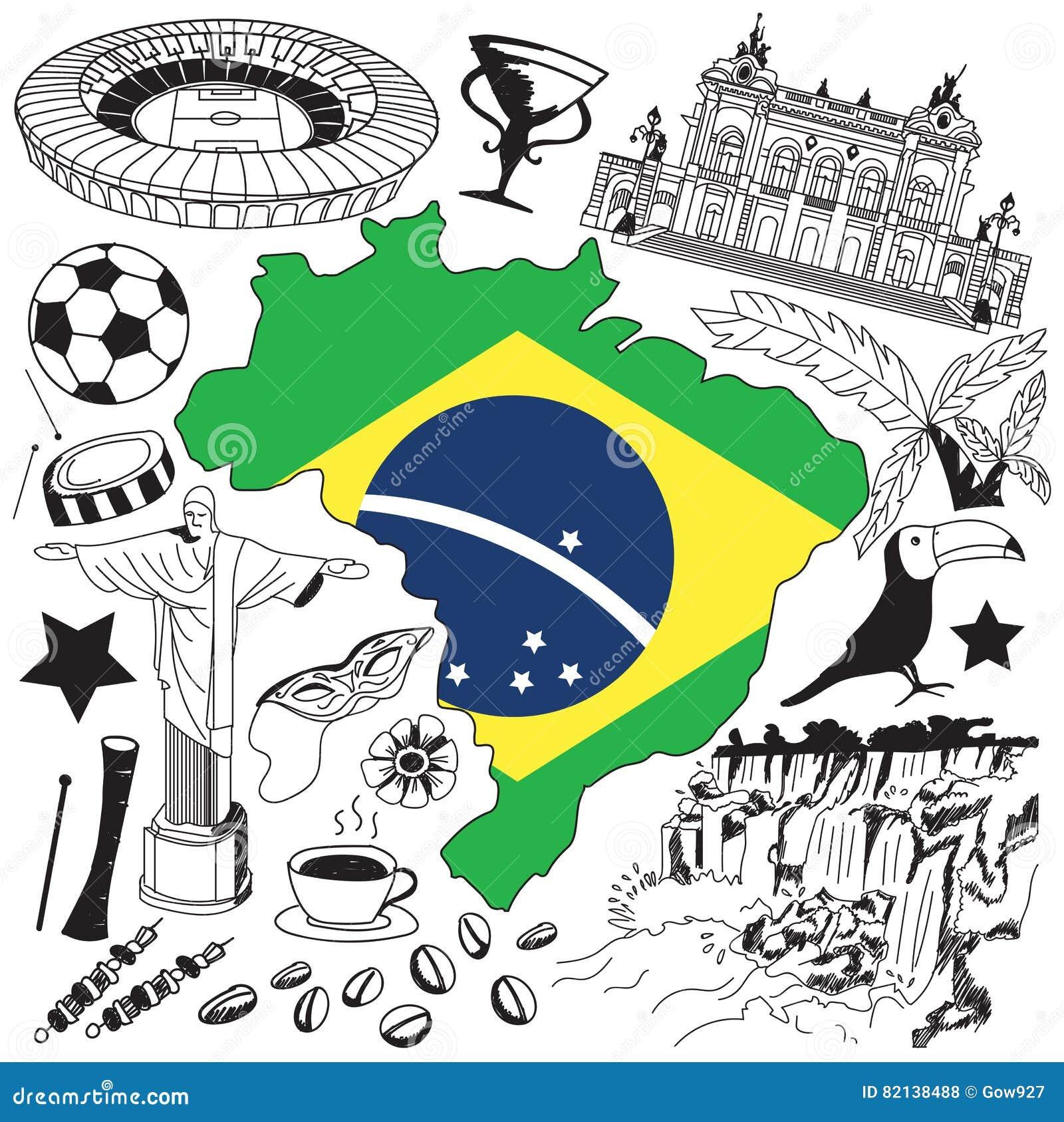 Lopp till symbolen för Brasilien klotterteckning Klottra med kultur, dräkten, gränsmärket och kokkonst av det Brasilien turismbeg