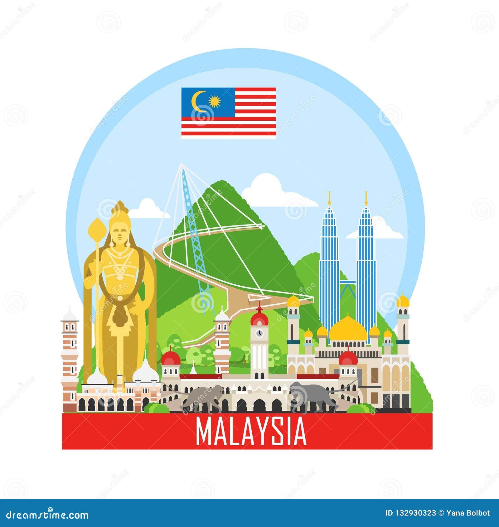 Loppbakgrund med gränsmärken av Malaysia