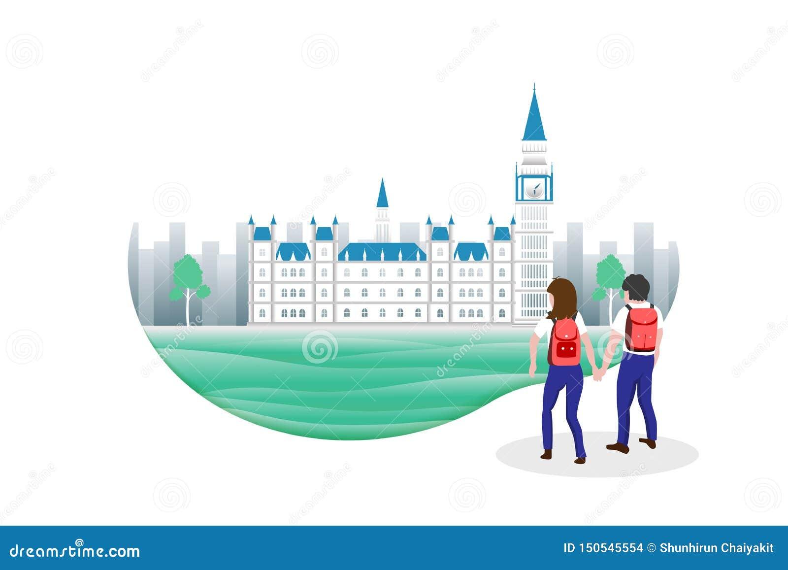 Loppbegrepp, män och kvinnaturister som går i England
