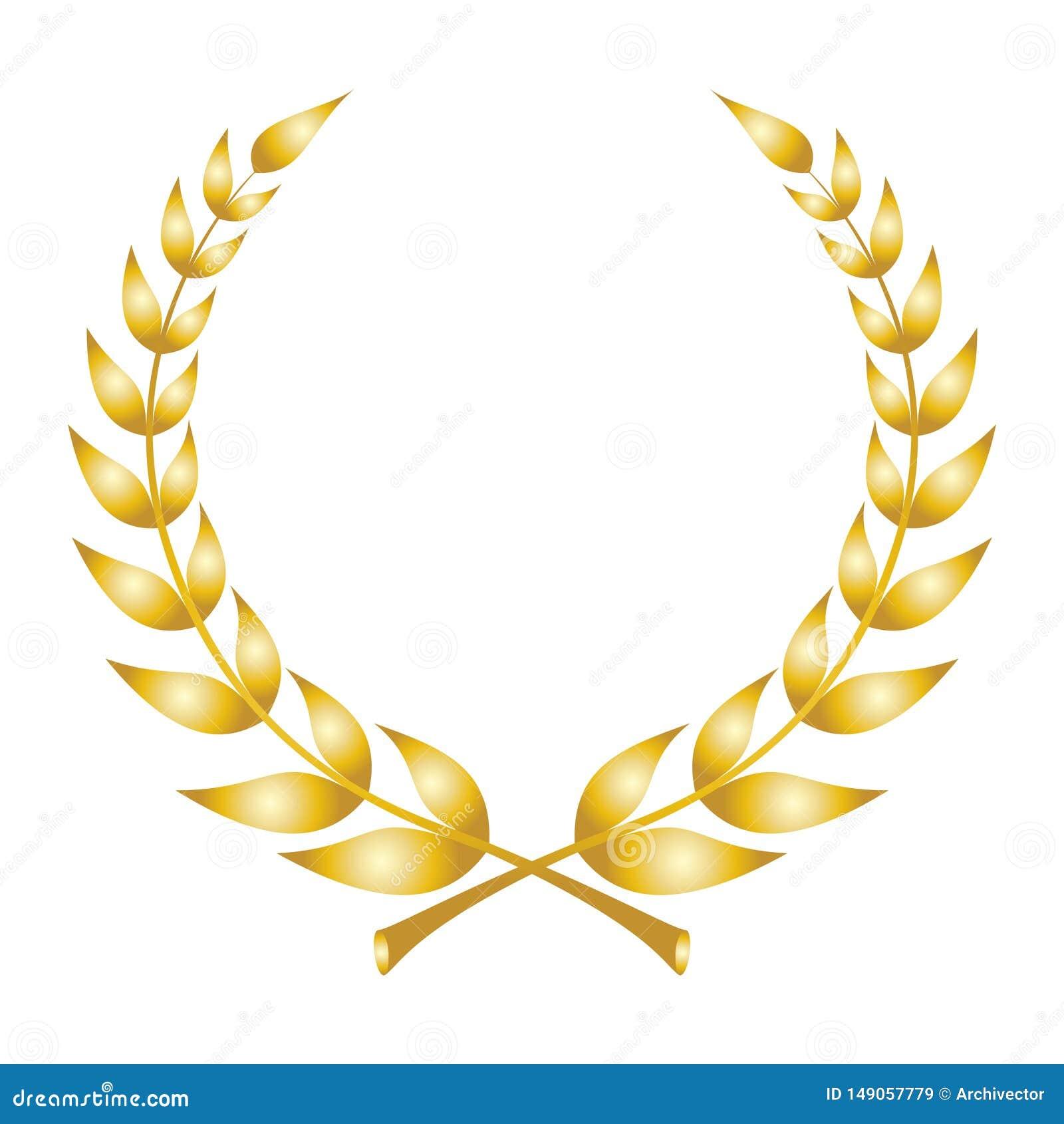 Lorbeerkranzikone Emblem gemacht von den Lorbeerzweigen