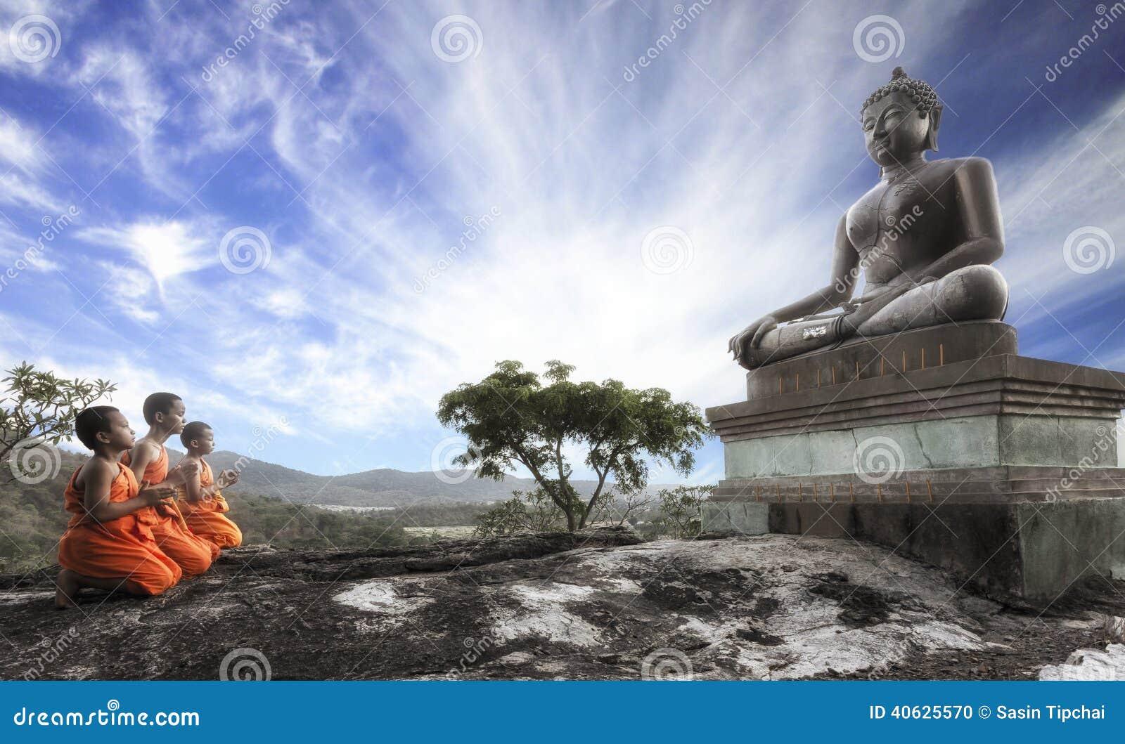 Lord Buddha Day Or Vesak Day, Buddhist Monk Prayin ...