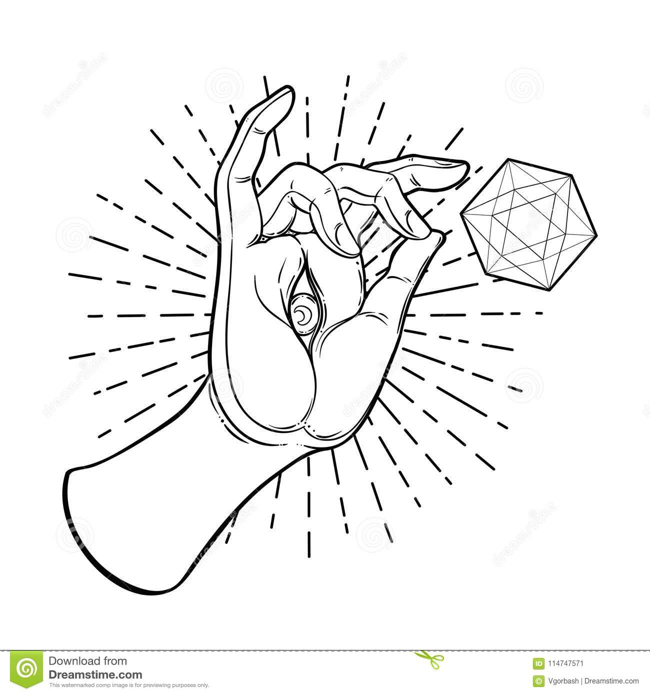 Lord buddhas hand with eye isolated vector illustration of