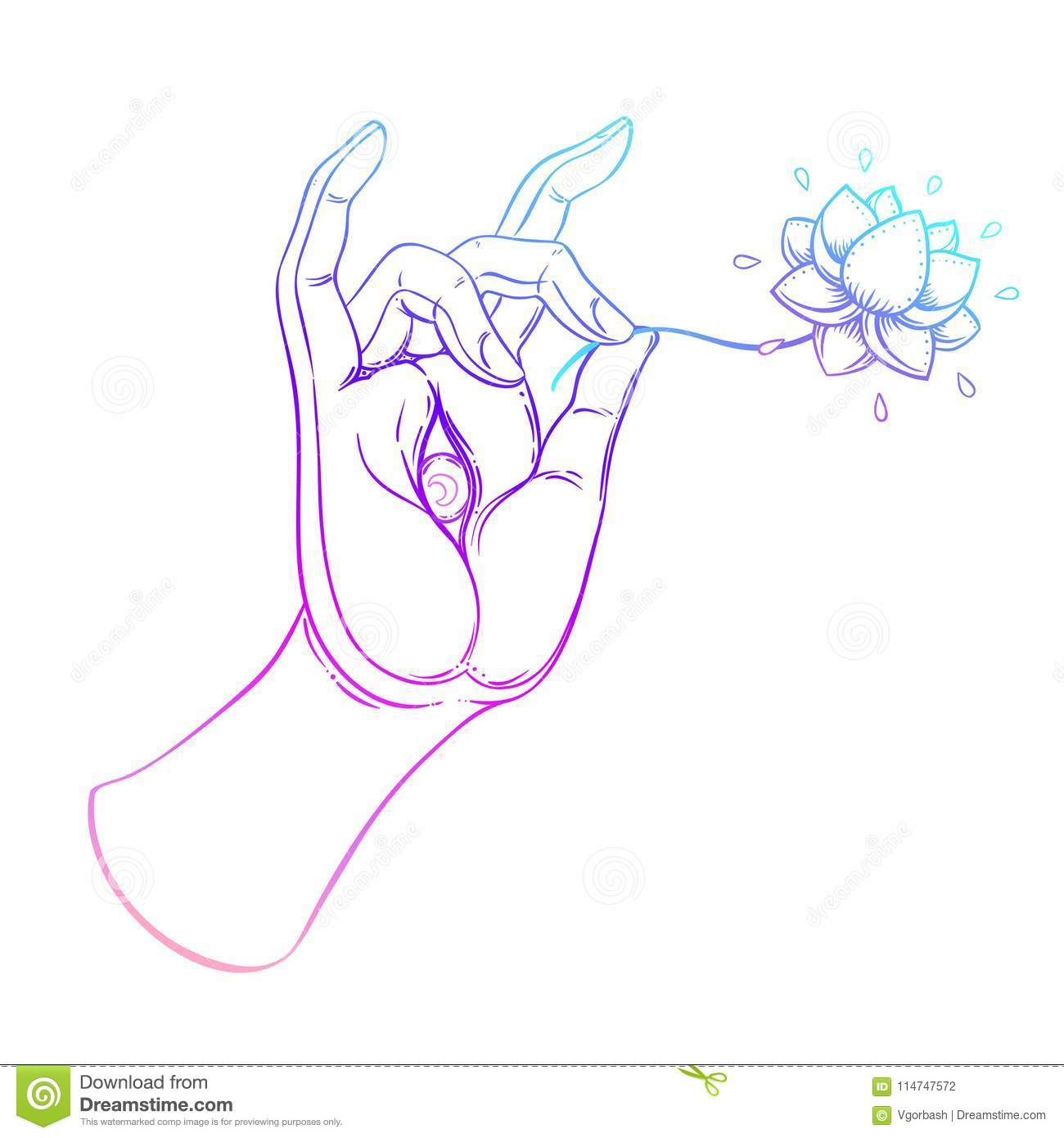 Lord Buddhas Hand With Eye Isolated Vector Illustration Of Mud
