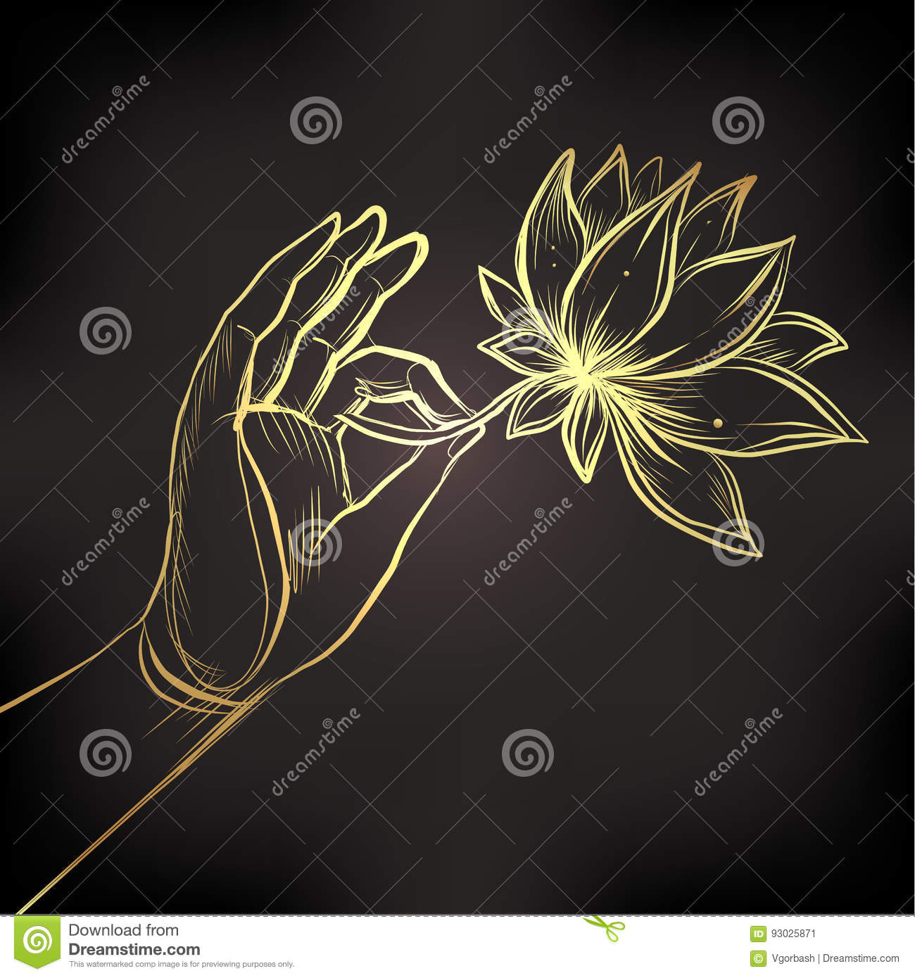 Lord Buddhas Hand Holding Lotus Flower Vector Illustration Of