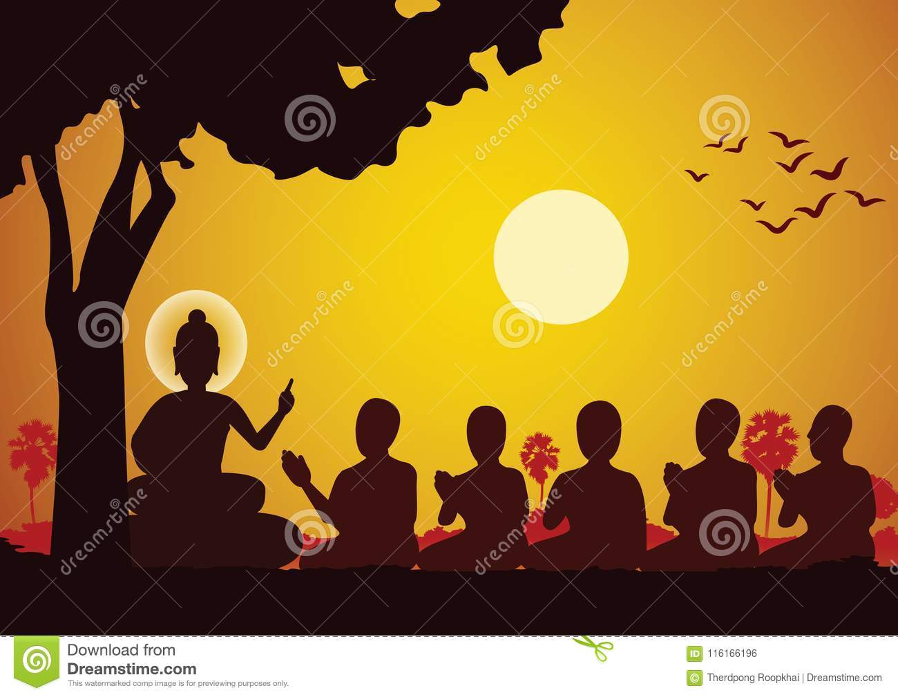 Lord of Buddha sermon to five ascetics and was enlighten become