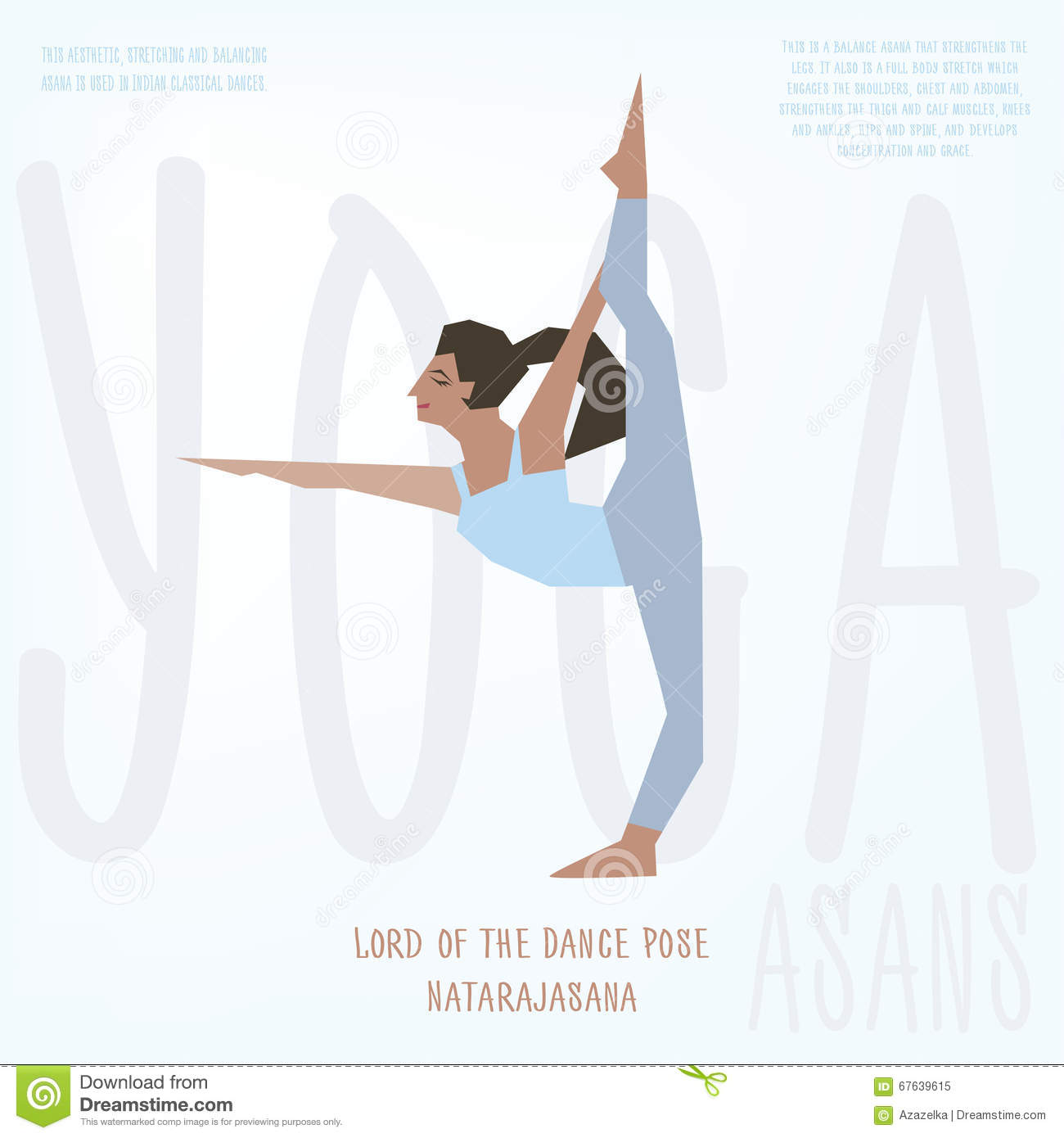 Download Lord Of Dance Natarajasana Asana Vector Illustrated Poster Template With Girl Doing