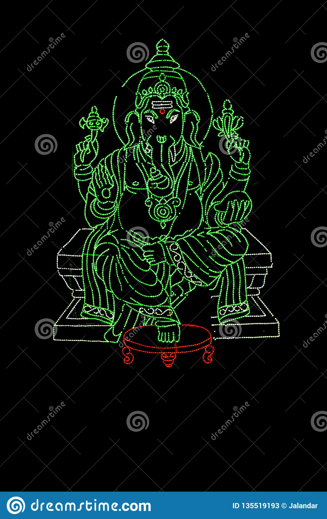 Lord Ganesha displayed in series of Green LED Lights