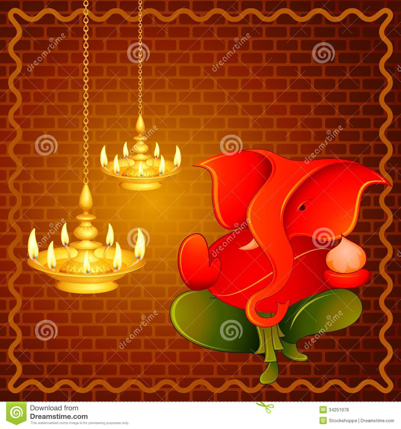 Lord Ganesha With Diwali Diya Stock Vector - Illustration of ... for Diwali Hanging Diya  588gtk