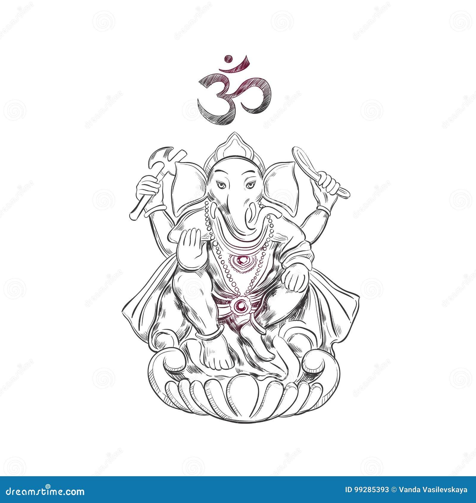 Lord Ganesha hinduism Símbolo de la prosperidad y de los obstáculos de la superación Ilustración drenada mano Estilo del bosquejo