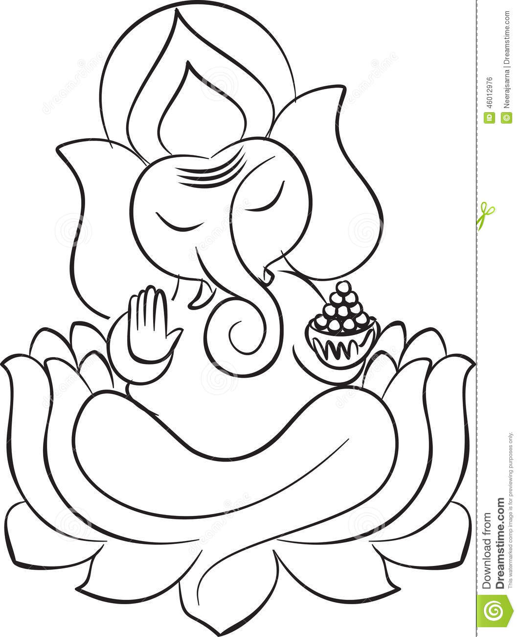 Ganesh Line Drawing : Lord ganesha on lotus line art stock vector illustration