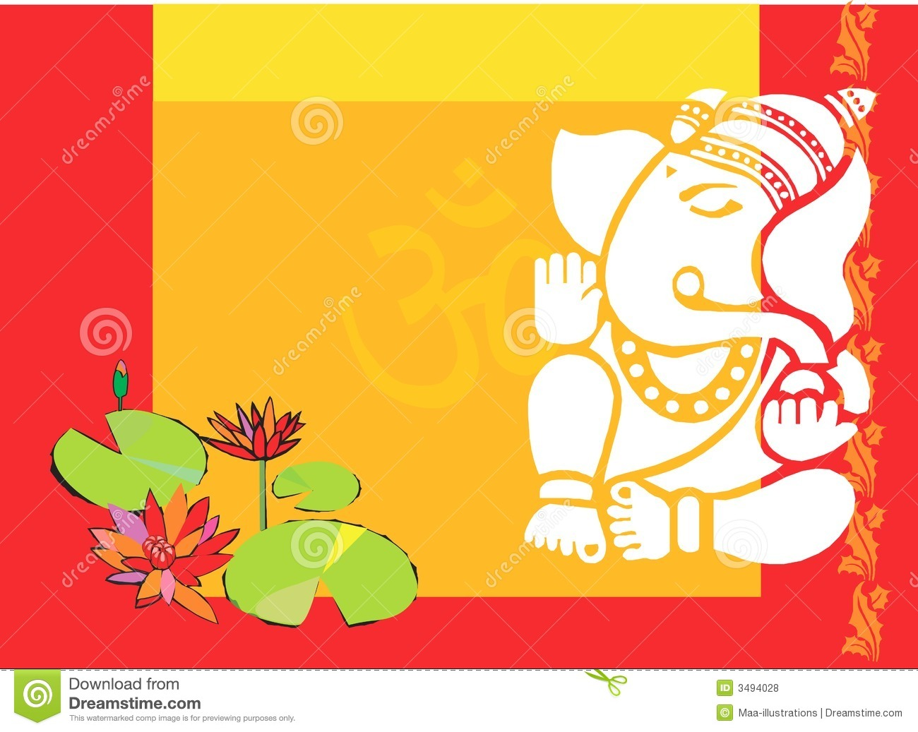 Lord Ganesha With Lotus Plant Royalty Free Stock Photos