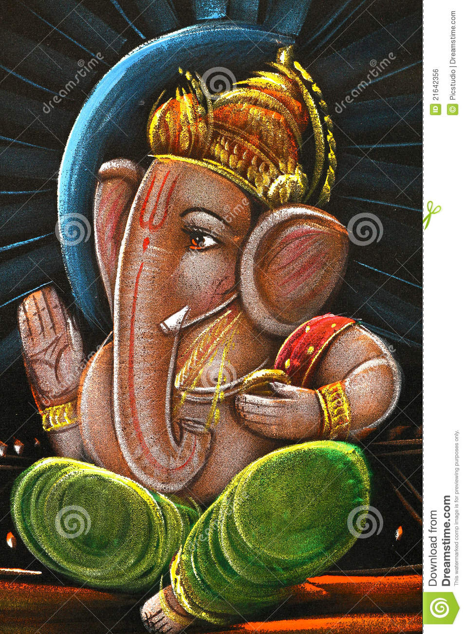 Lord Ganesha Oil Painting Editorial Photo - Image: 21642356