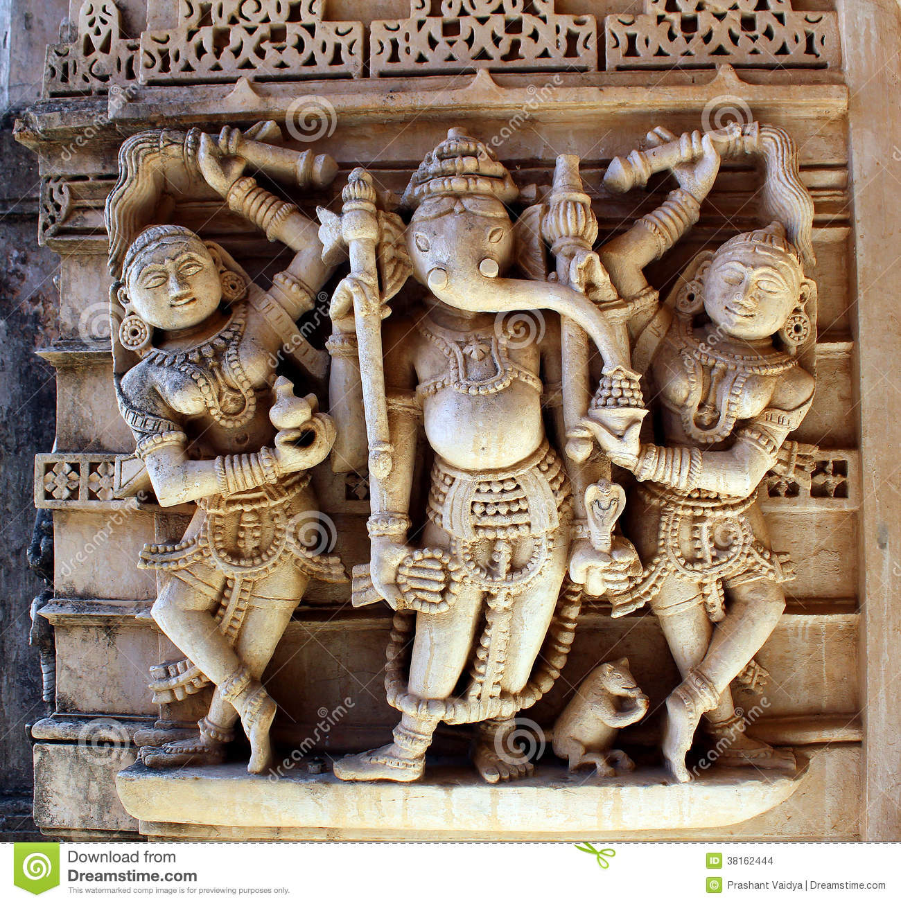 Lord ganesha with riddhi & siddhi stock photo image of festival