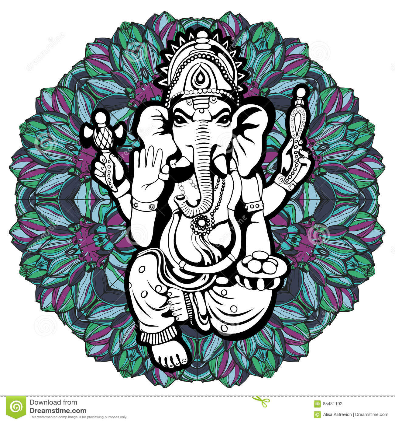 Lord ganesha sketch on a background vector