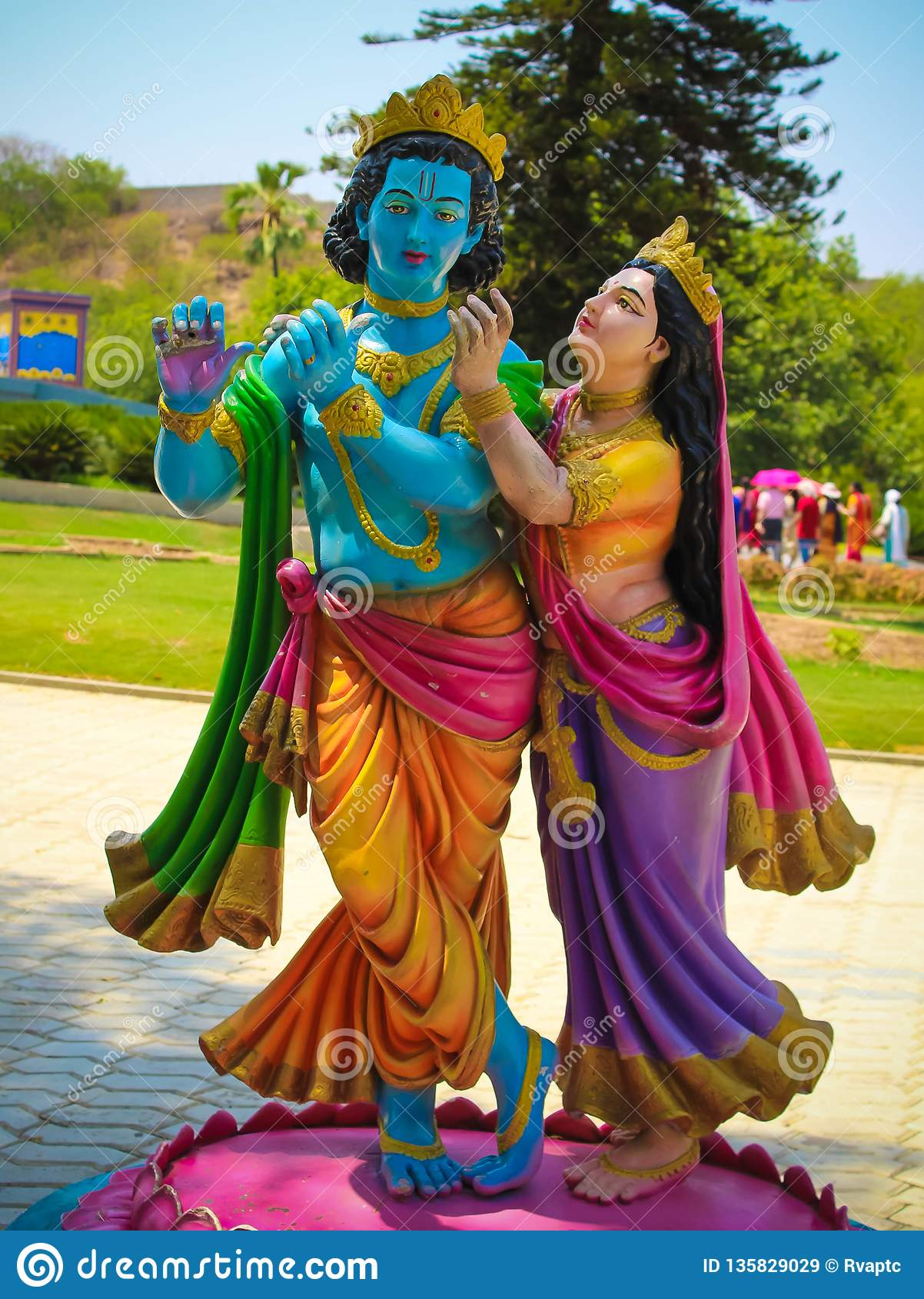 Lord Krishna And Radha Colorful Statue Stock Image - Image of india