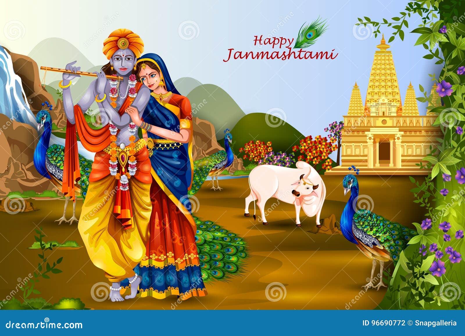 Lord Krishna And Radha On Happy Janmashtami Background Stock Vector