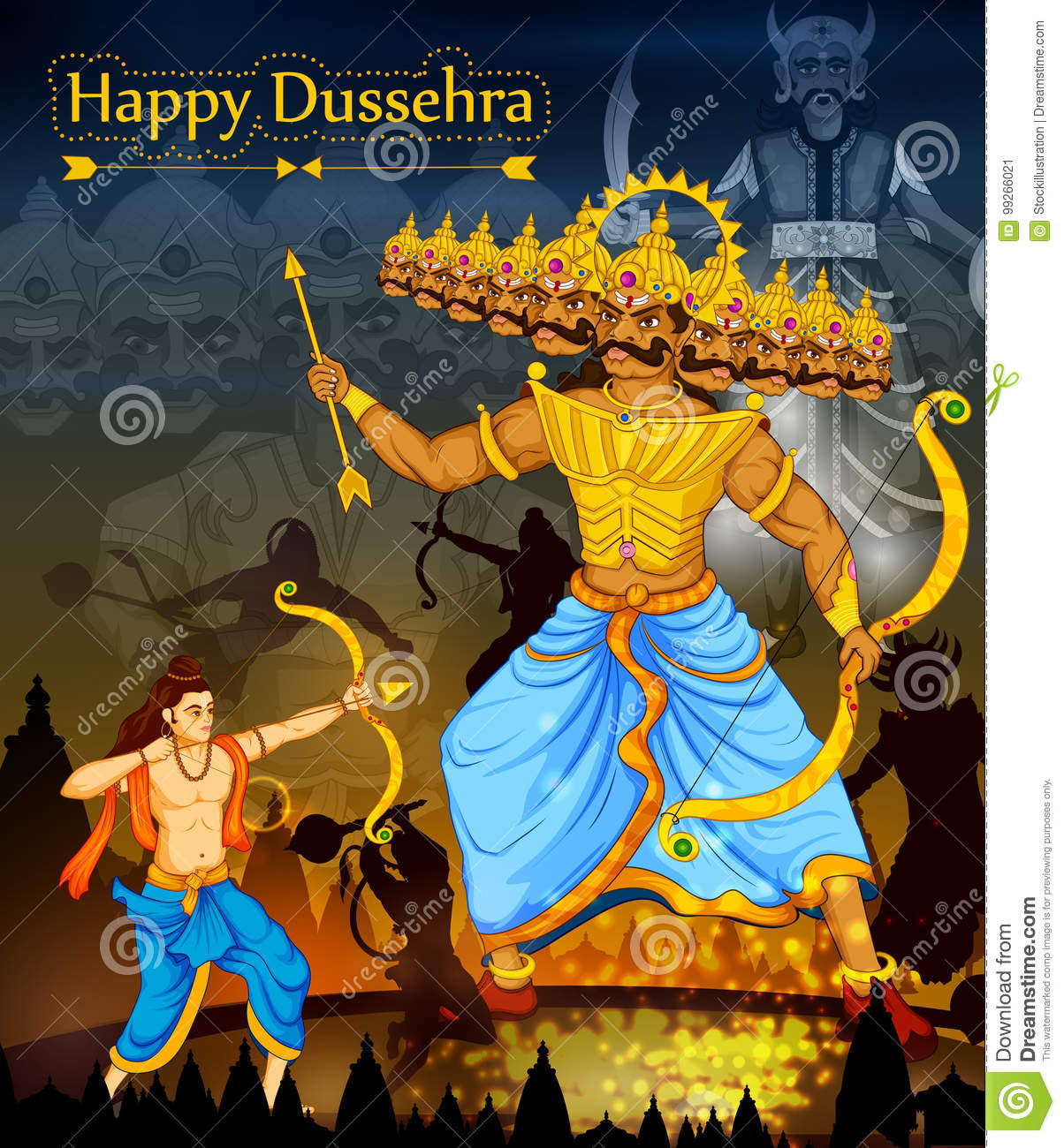 Lord Rama Killing Ravana During Dussehra Festival Of India Stock