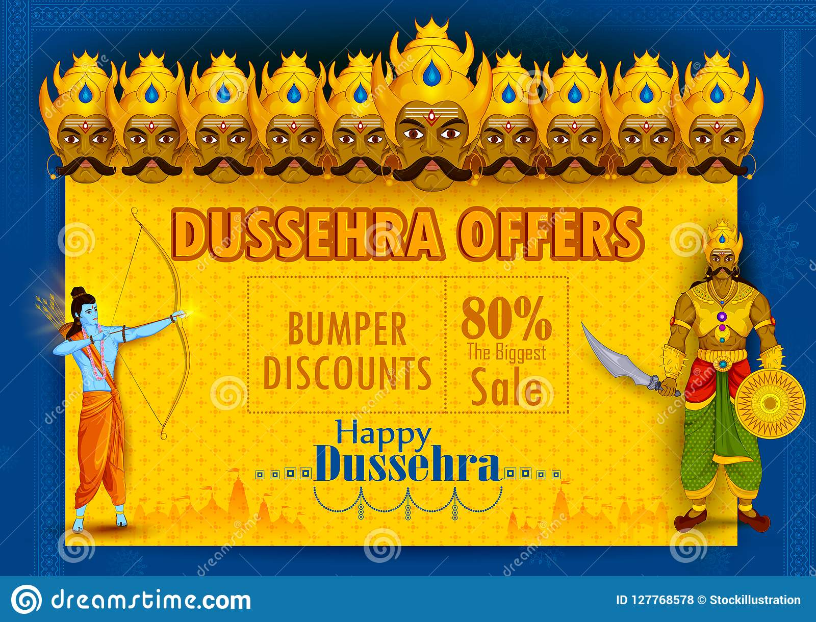 Lord Rama Killing Ravana During Dussehra Festival Of India Sale