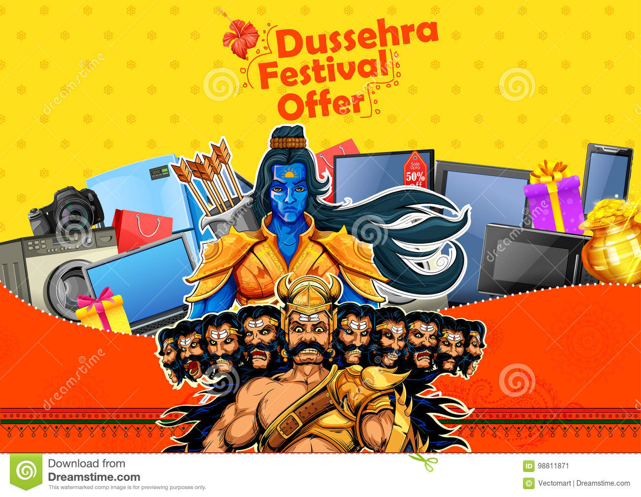 Lord Rama And Ravana For Happy Dussehra Sale Promotion Stock Vector