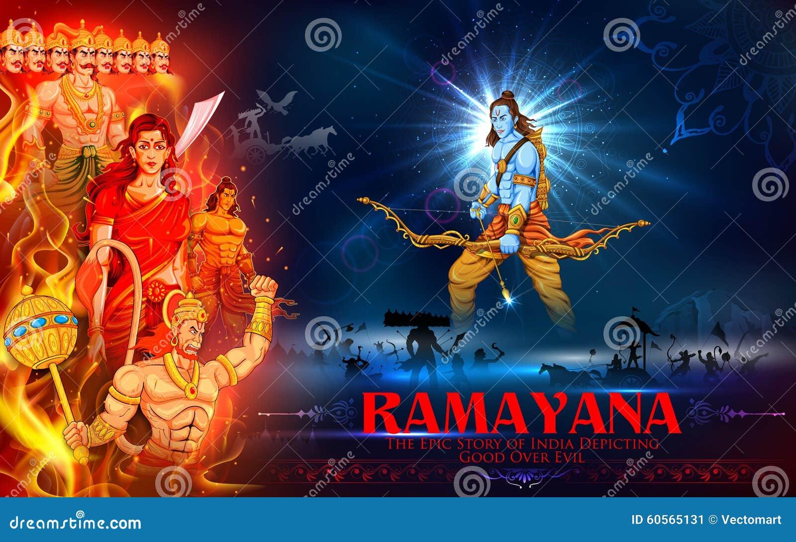 Lord Rama Sita Laxmana Hanuman And Ravana In Dussehra Poster