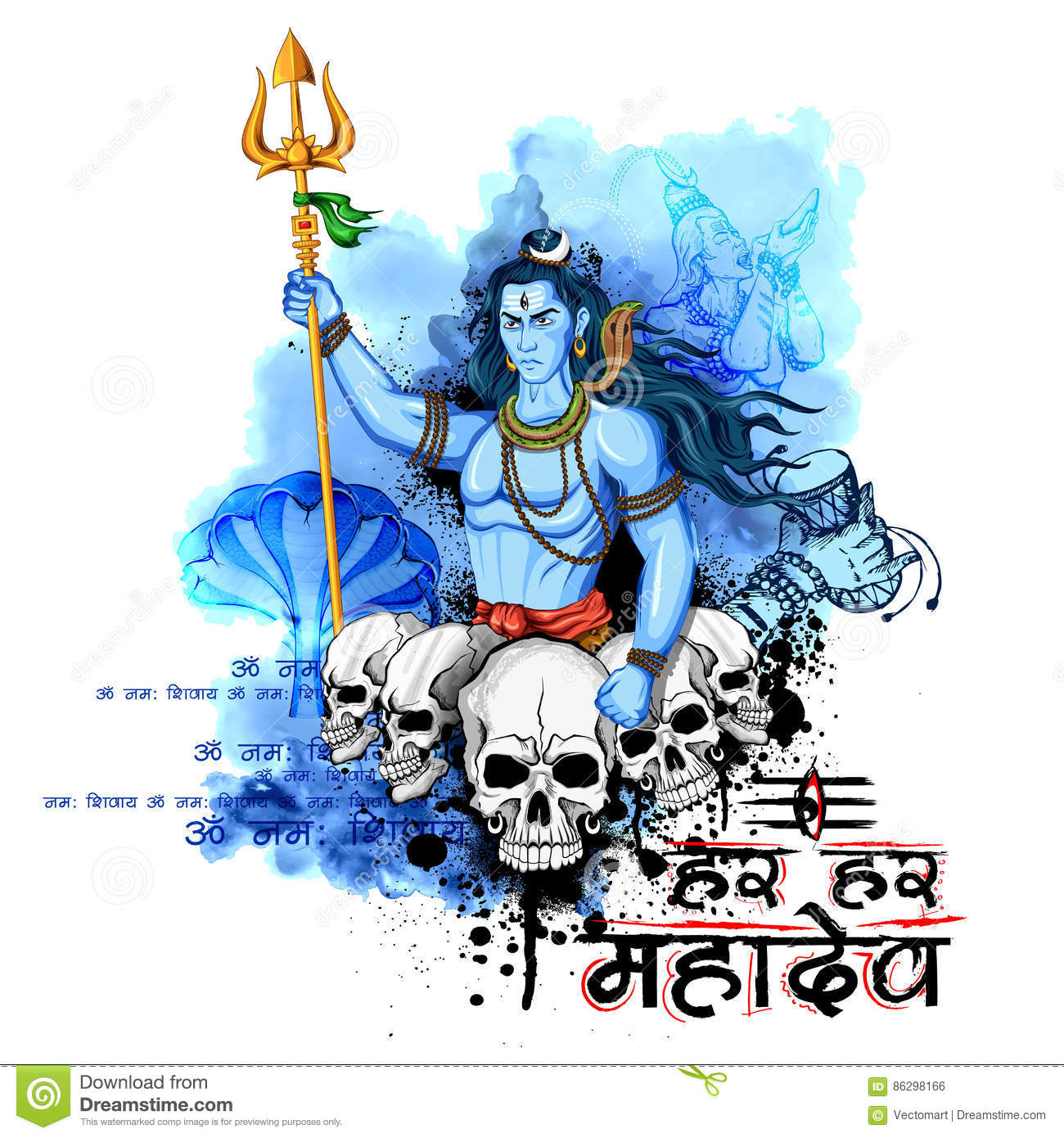 Lord Shiva, Indian God Of Hindu Stock Vector - Illustration of