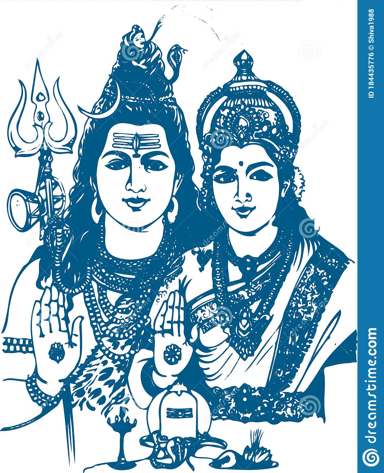 Lord Shiva And Parvati Hindu Wedding Card Design Element Drawing