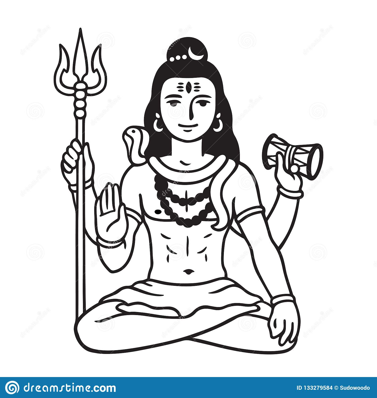 Lord Shiva drawing stock vector  Illustration of deity
