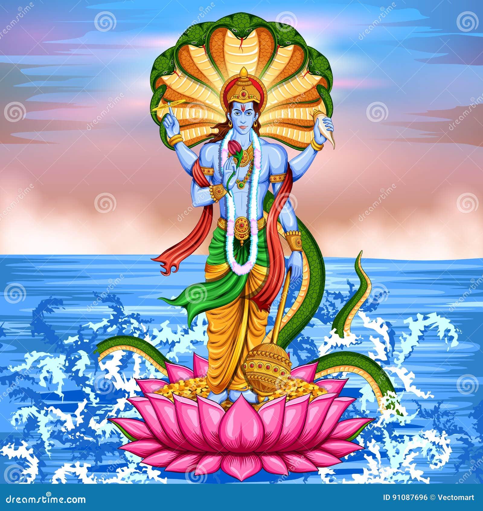 Lord Vishnu Standing On Lotus Giving Blessing Stock Vector