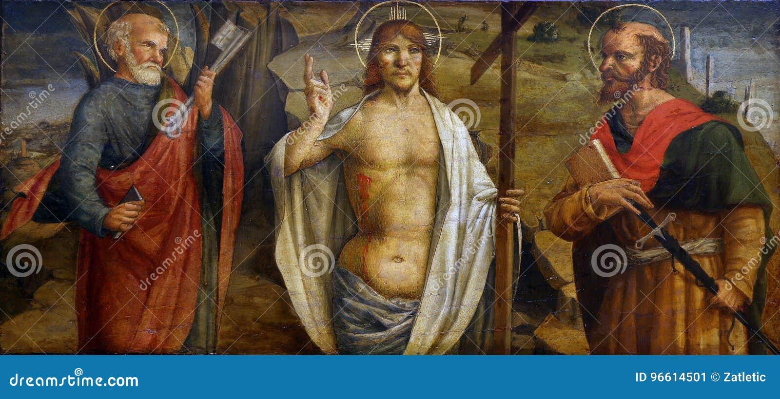 Lorenzo d Alessandro: Wzrastający Chrystus z świętymi Peter i Paul