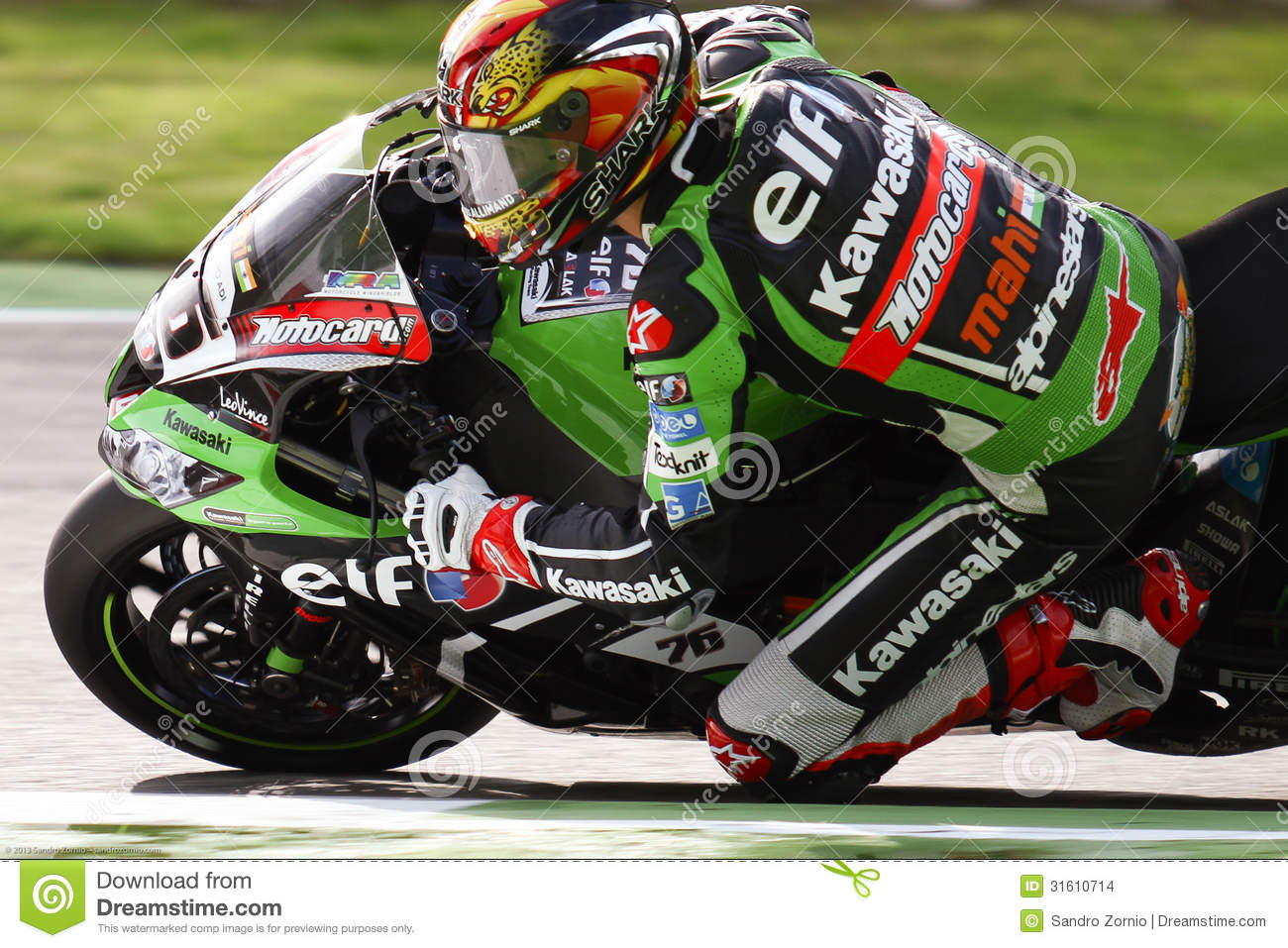 Loris Baz #76 on Kawasaki ZX-10R Kawasaki Racing Team Superbike WSBK
