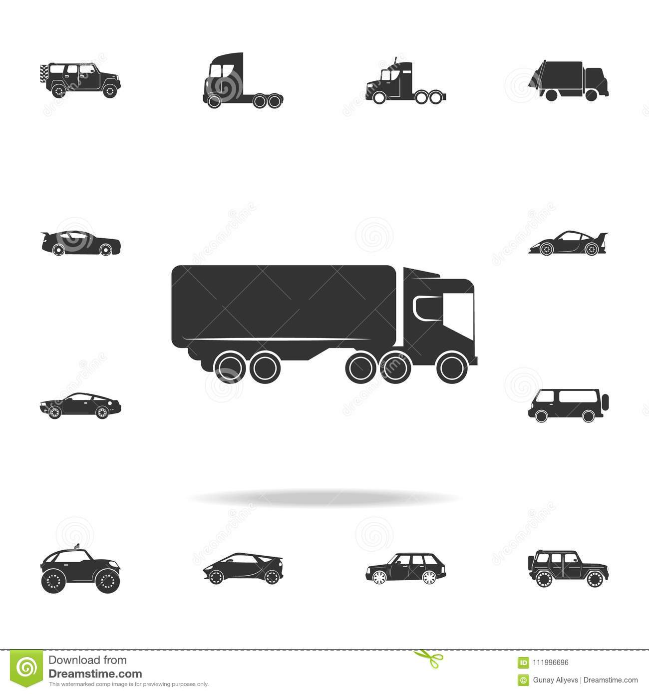 lorry with a trailer icon. Detailed set of transport icons. Premium quality graphic design. One of the collection icons for websit