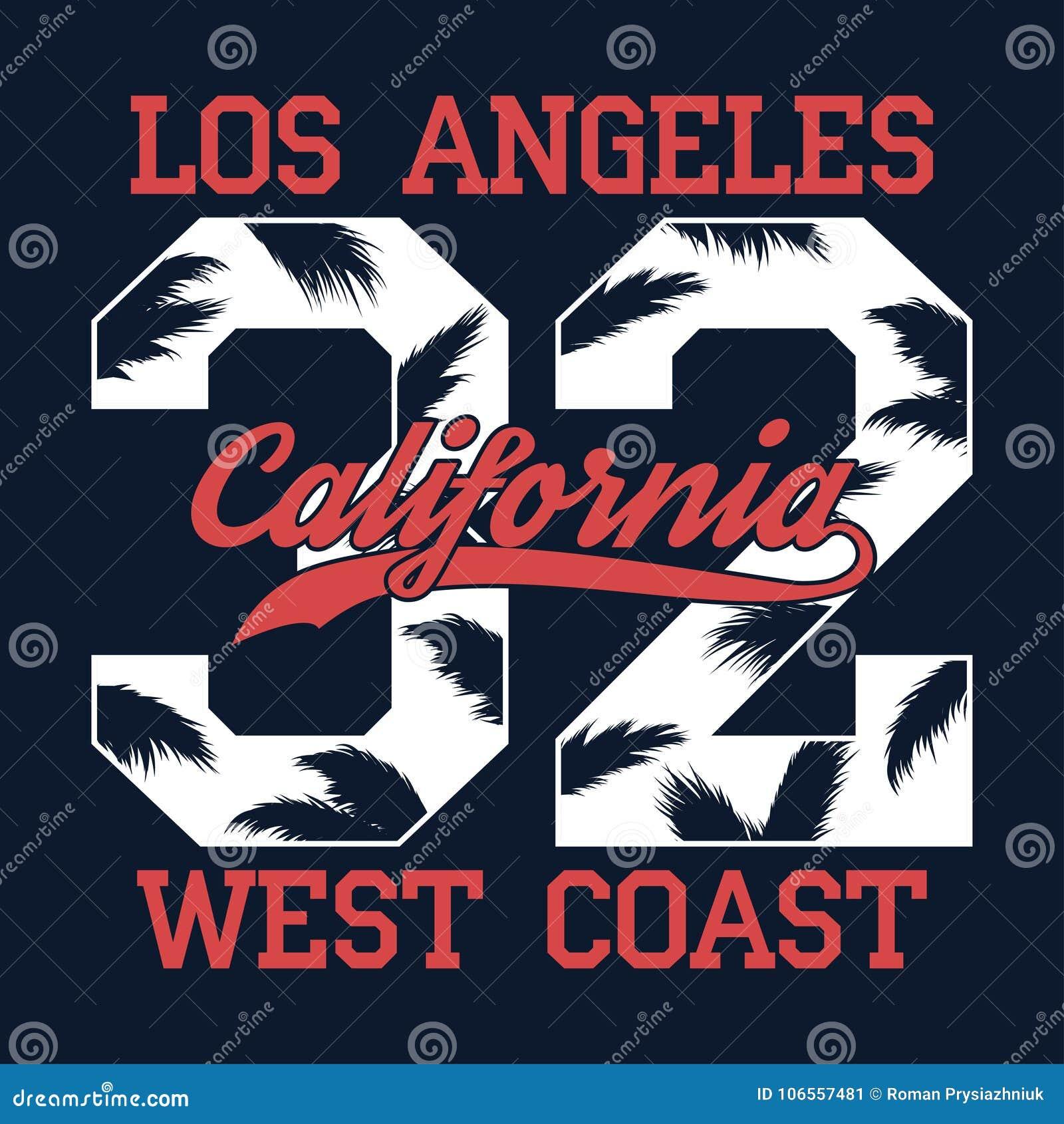 Los Ángeles, California - numere la impresión para la camiseta con la hoja de la palmera Gráfico de la tipografía de la costa oes