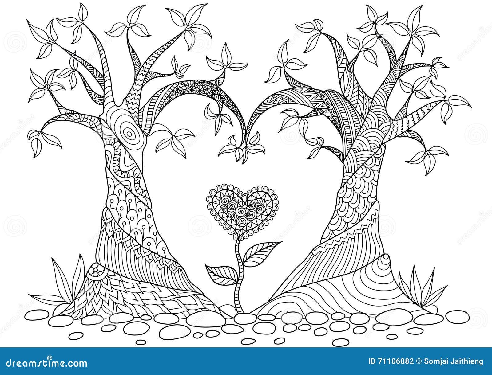 Los árboles Abstractos En La Línea Arte De La Forma Del Corazón ...