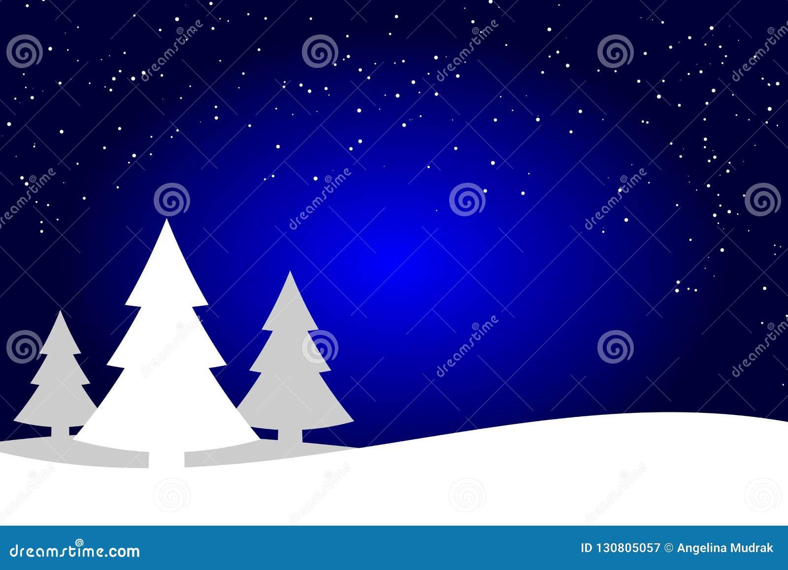 Los árboles de navidad azul marino y blancos ajardinan el fondo, silueta del bosque de la picea
