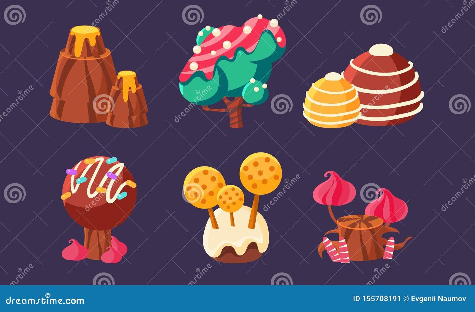 Los árboles dulces lindos del caramelo, montaña, setas fijaron, los elementos del paisaje de la fantasía para el móvil o interfaz