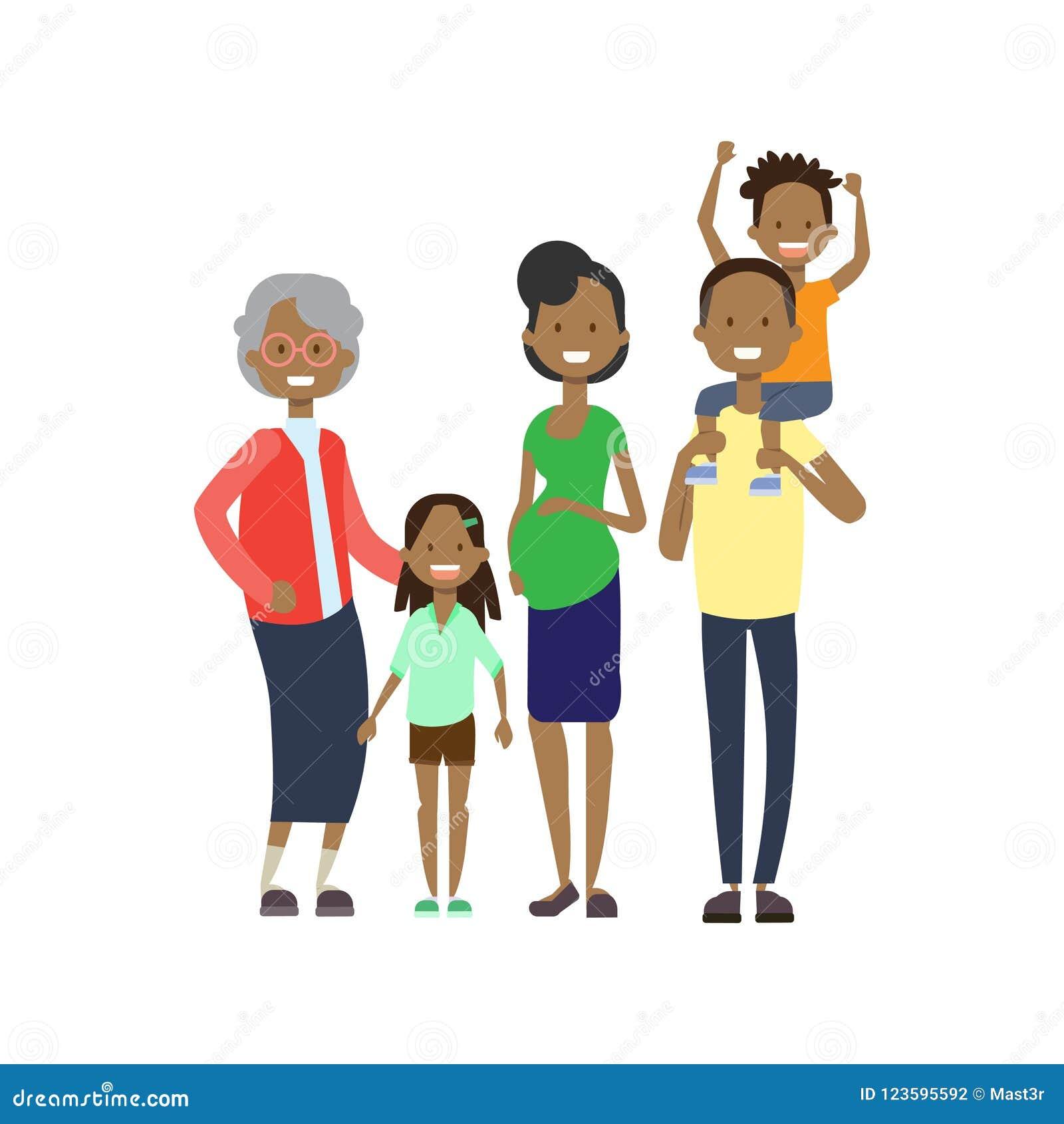 Los abuelos africanos parents a los nietos de los niños, familia multi de la generación, avatar integral en el fondo blanco