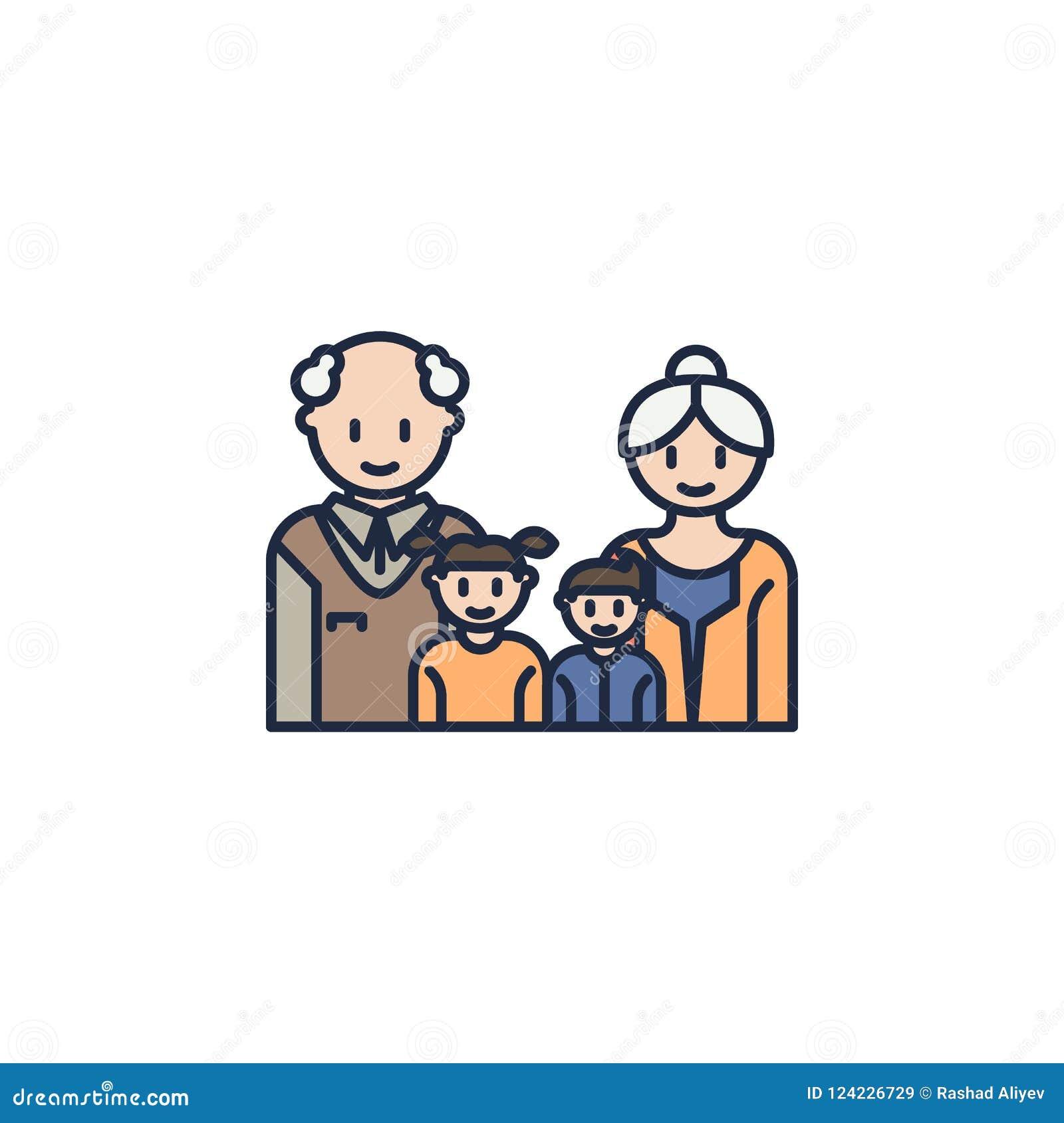 Los Abuelos Y Los Nietos Colorearon El Icono Elemento Del Icono De