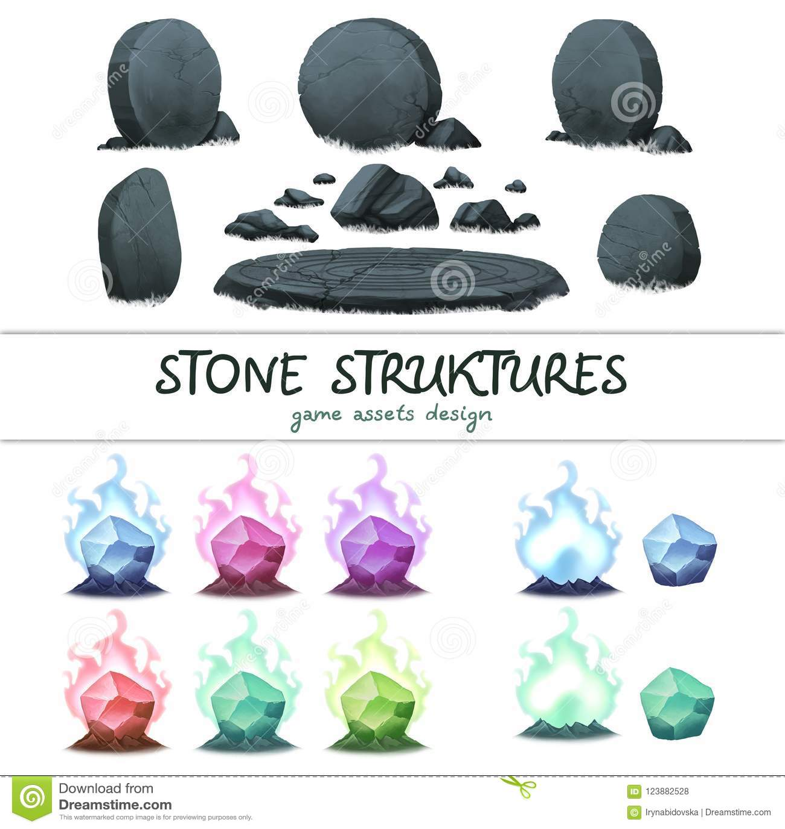 Los activos de piedra del juego de la historieta fijaron, aislado en blanco