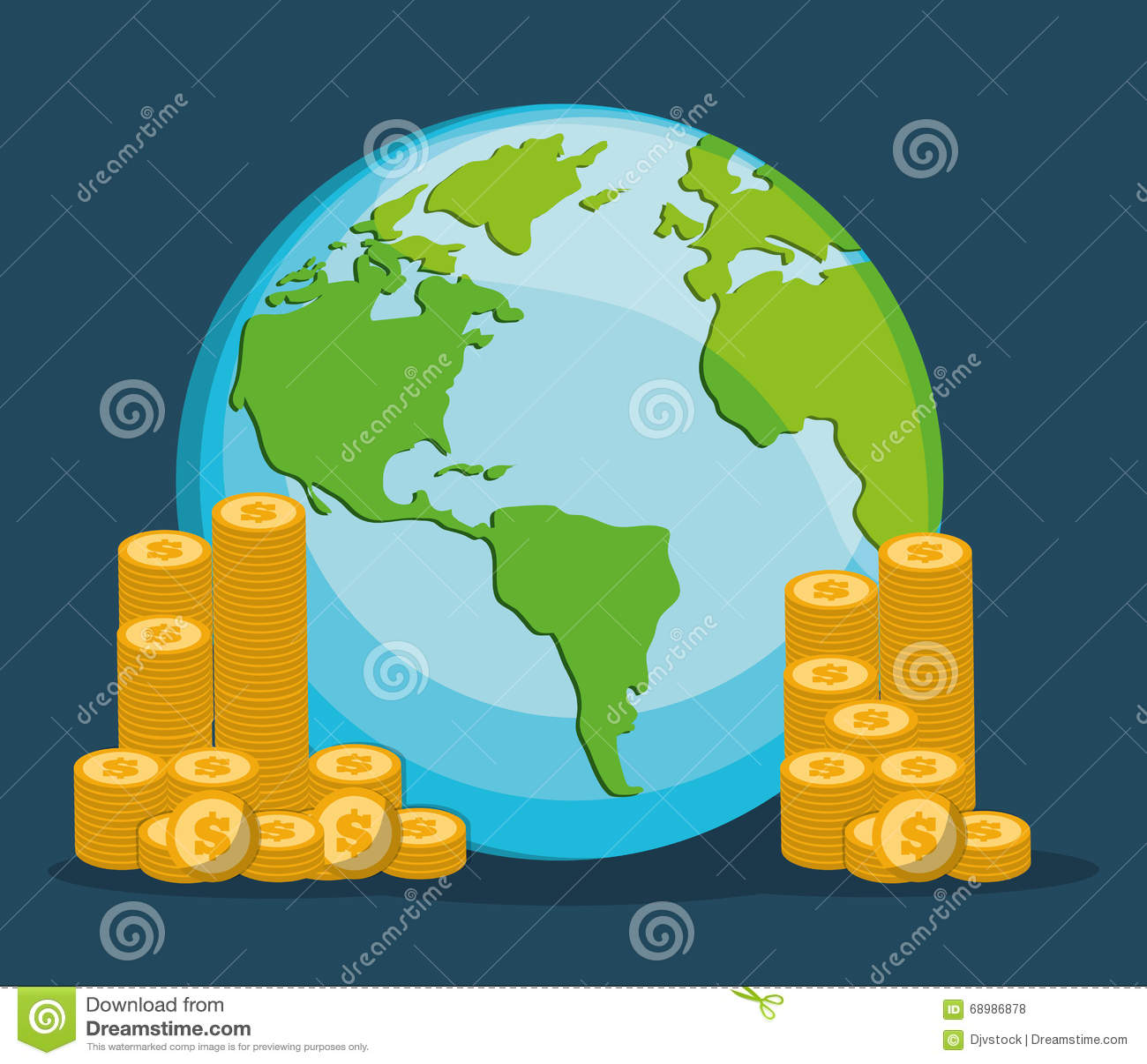 Los ahorros y las monedas del dinero diseñan, vector el ejemplo